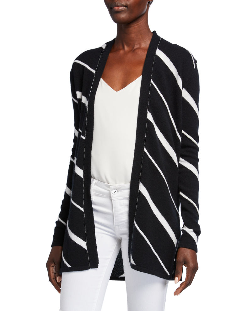 Neiman Marcus Cashmere Collection Diagonal Striped Cashmere Cardigan w/ Chain Trim