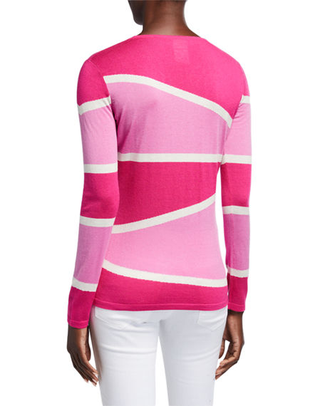 Image 3 of 4: Neiman Marcus Cashmere Collection Superfine Variegated Stripe Crewneck Long-Sleeve Sweater