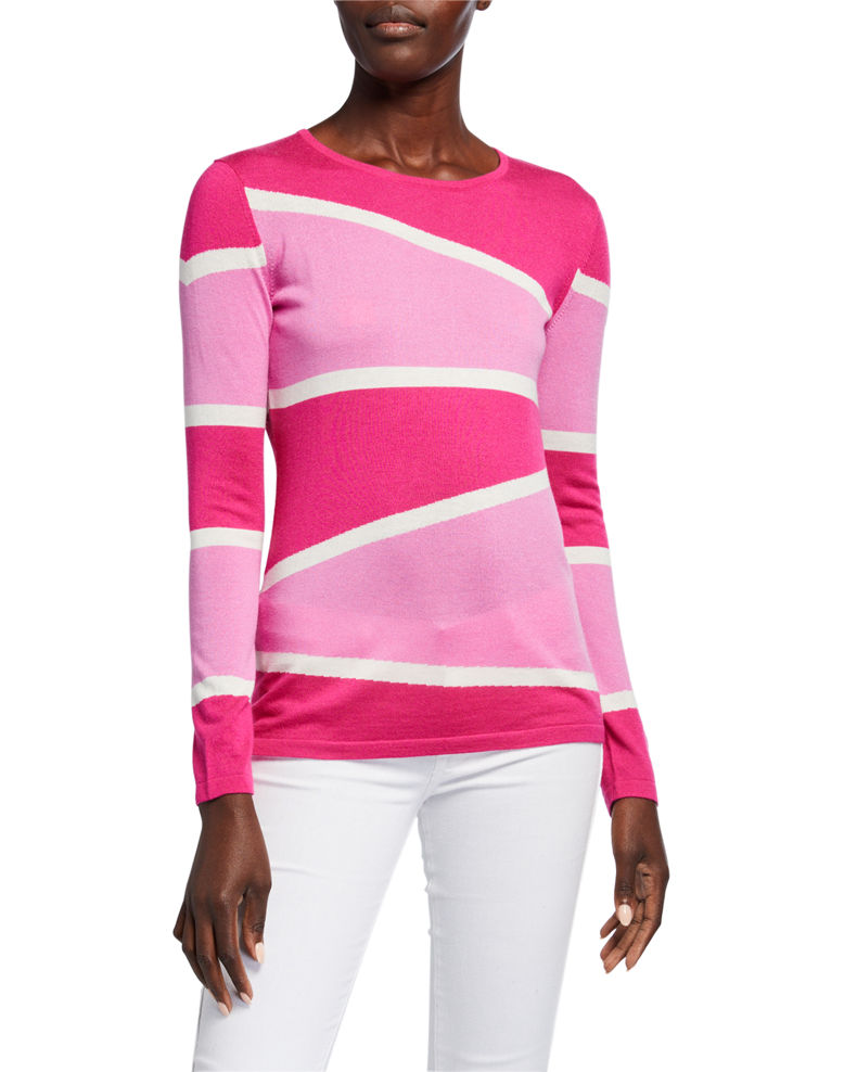 Neiman Marcus Cashmere Collection Superfine Variegated Stripe Crewneck Long-Sleeve Sweater