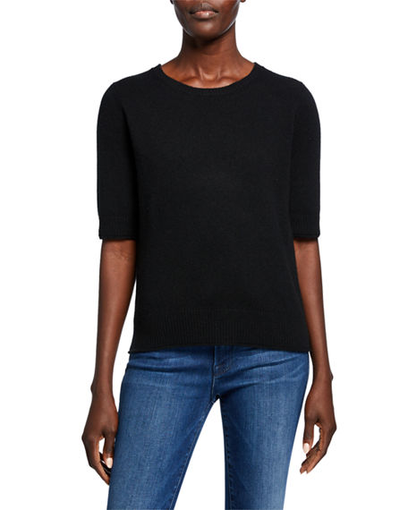 Neiman Marcus Cashmere Collection Cashmere Crewneck Elbow Sleeve T-Shirt Sweater