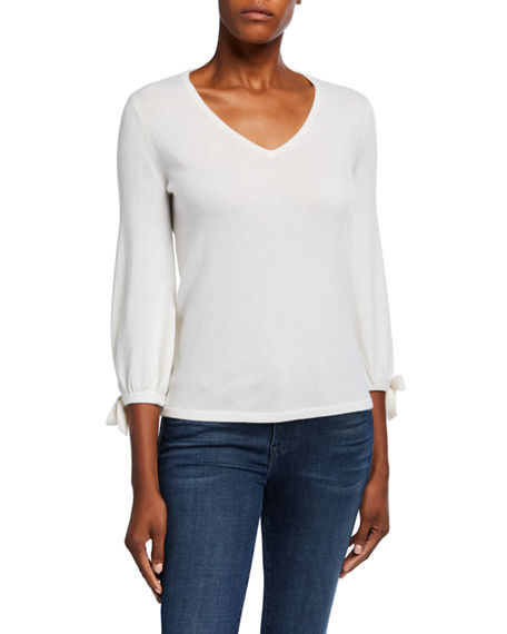 Neiman Marcus Cashmere Collection Cashmere V-Neck 3/4 Tie Sleeve Pullover Sweater