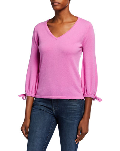 Cashmere V-Neck 3/4 Tie Sleeve Pullover Sweater