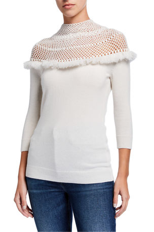 Neiman Marcus Cashmere Collection Crochet Yoke 3/4-Sleeve Mock-Neck Cashmere Sweater