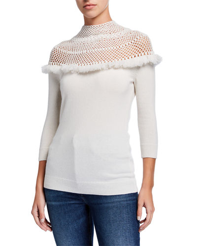 Crochet Yoke 3/4-Sleeve Mock-Neck Cashmere Sweater