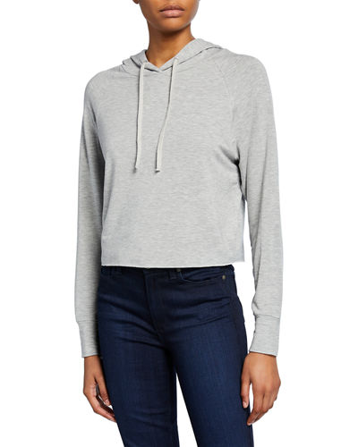 French-Terry Long-Sleeve Cropped Pullover Hoodie