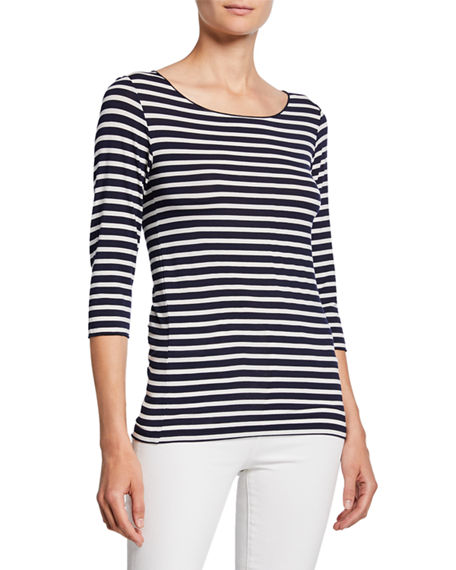 Majestic Filatures Striped Boat-Neck 3/4-Sleeve Tee