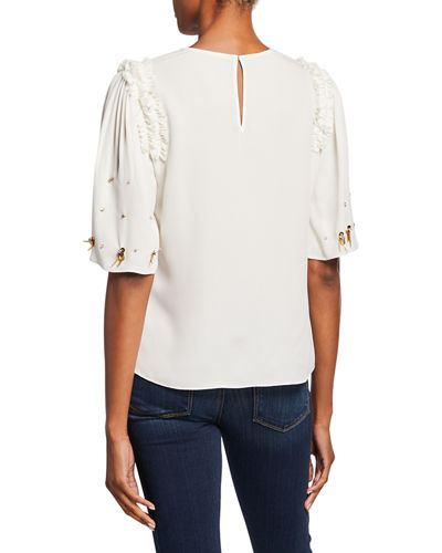 Kobi Halperin Krissy Embellished Elbow-Sleeve Silk Blouse