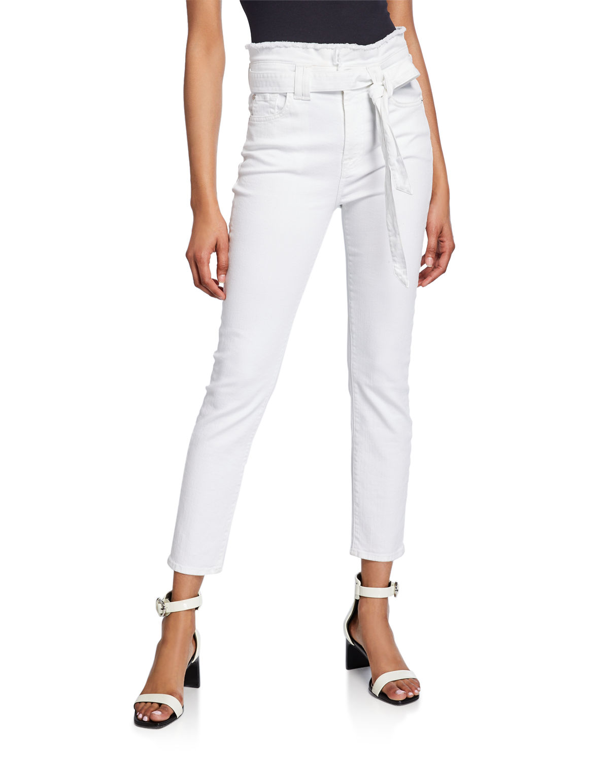 7 For All Mankind Pants BELTED PAPERBAG-WAIST SKINNY ANKLE PANTS