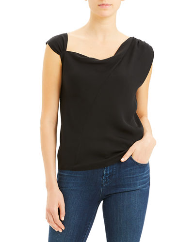 Asymmetric Classic Silk Georgette Top