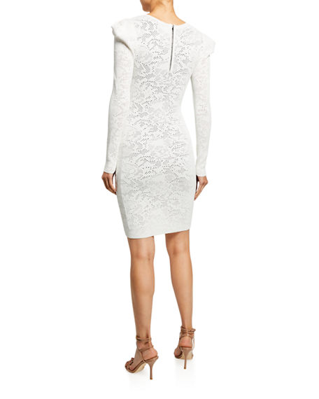 Image 2 of 2: Milly Pointelle Lace Long-Sleeve Draped-Shoulder Sheath Dress