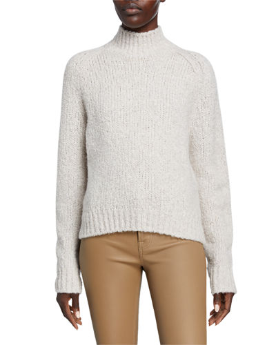 Textured Saddle Sleeve Turtleneck Wool Sweater