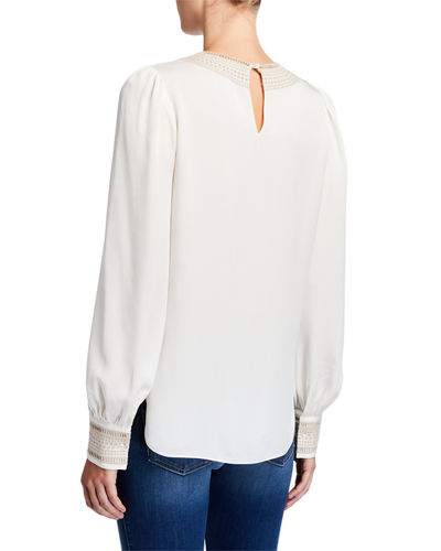 Elie Tahari Aura V-Neck Long-Sleeve Silk Shirt