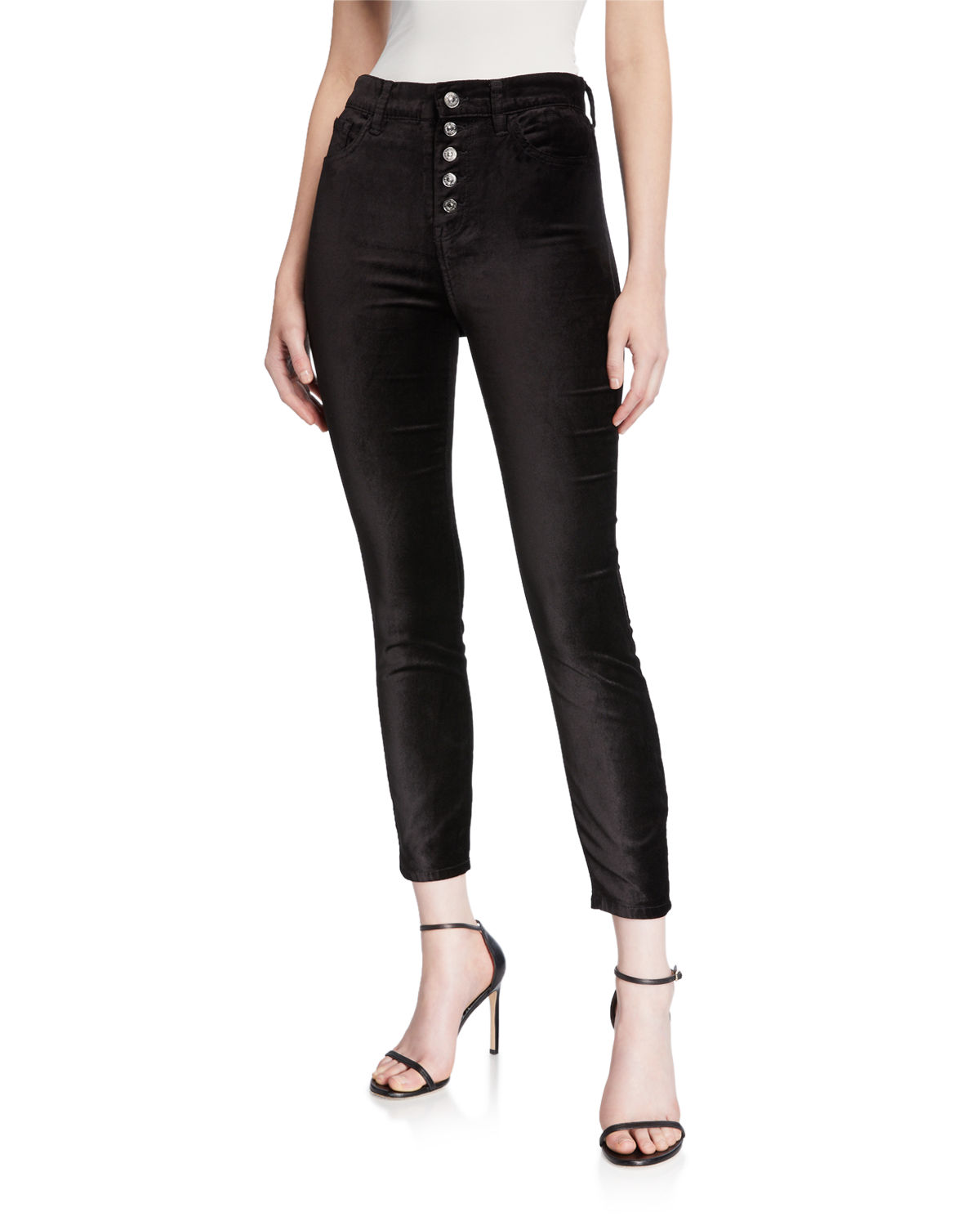 7 For All Mankind High Waist Ankle Skinny Jeans With Exposed Buttons In Black