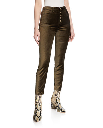 High Waist Ankle Skinny Jeans with Exposed Buttons