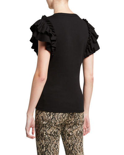 Veronica Beard Biscay Ruffle-Sleeve Cotton Top