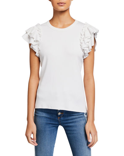 Biscay Ruffle-Sleeve Cotton Top