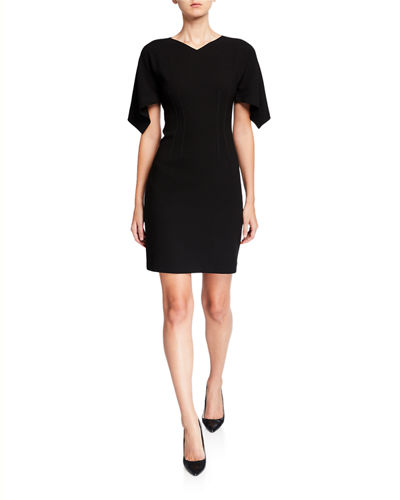 Percy V-Neck Draped Sleeve Sheath Dress