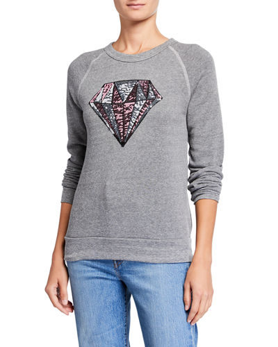 Melissa Masse Plus Size Sequin Diamond Eco Fleece Crewneck Sweatshirt