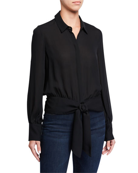 Kobi Halperin Bernadette Long-Sleeve Button-Down Tie-Hem Blouse