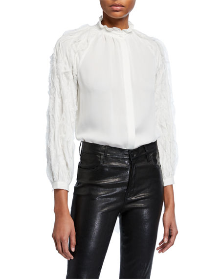 Kobi Halperin Rose Textured-Sleeve Silk Blouse