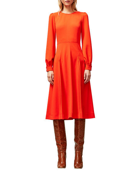 Tory Burch Long-Sleeve Stitched Knit Crepe Dress