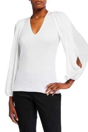 Kobi Halperin Malika V-Neck Split-Sleeve Sweater