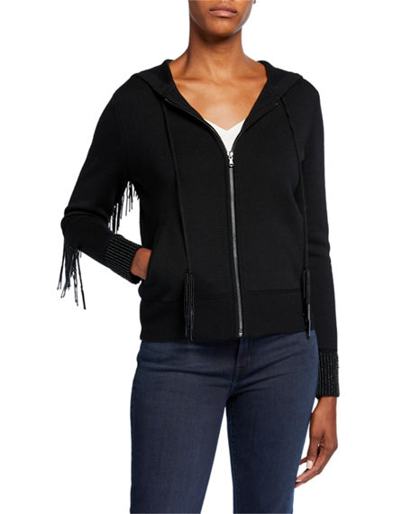 Image 2 of 2: Kobi Halperin Reta Zip-Front Long-Sleeve Fringe-Trim Hooded Sweater
