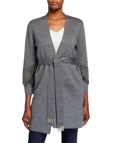 Sima Belted Sweater with Beaded Fringe