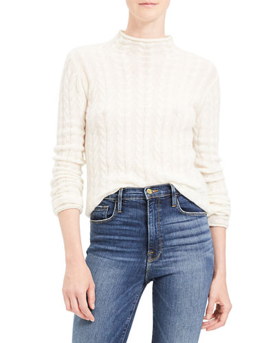 Cable Mock-Neck Cashmere Sweater