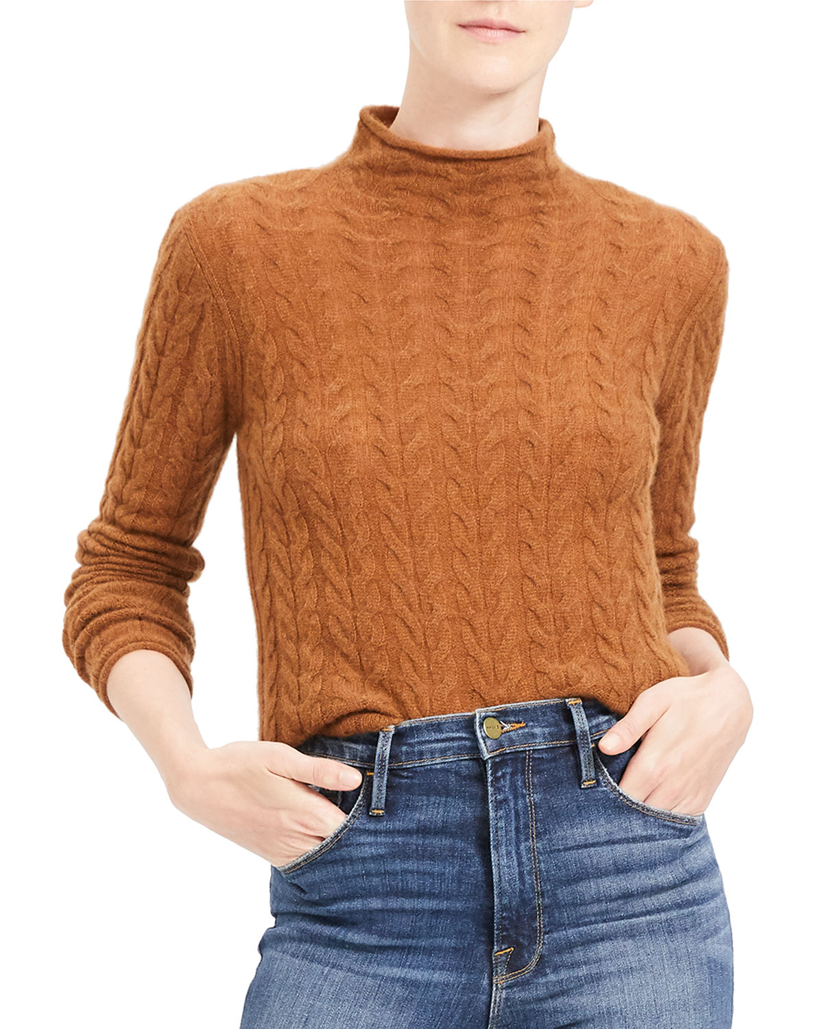 Theory Sweaters CABLE MOCK-NECK CASHMERE SWEATER