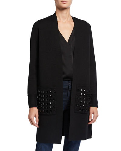 Marci Open-Front Sweater w/ Embellished Pockets