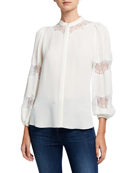 Kobi Halperin Keli Button-Down Lace-Inset Silk Blouse