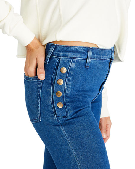 Image 2 of 4: etica Nina Button-Fly Flare Jeans