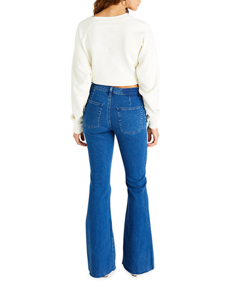 Image 3 of 4: etica Nina Button-Fly Flare Jeans