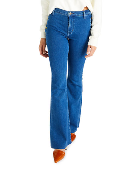 Image 1 of 4: etica Nina Button-Fly Flare Jeans