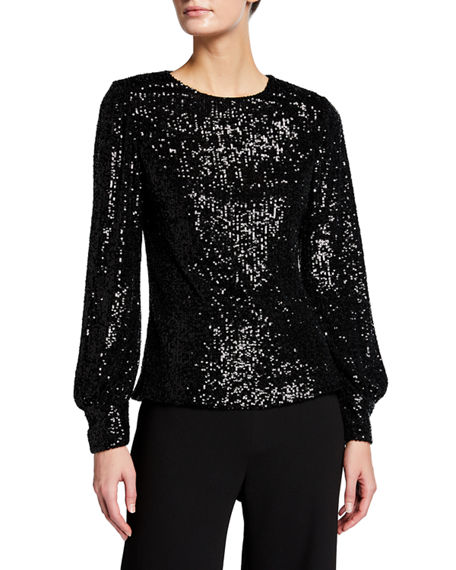 Rickie Freeman for Teri Jon Sequin Puff-Sleeve Top