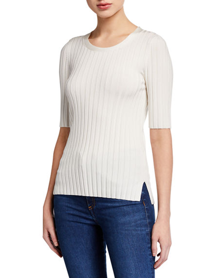 Veronica Beard Dillon Ribbed Short-Sleeve Sweater