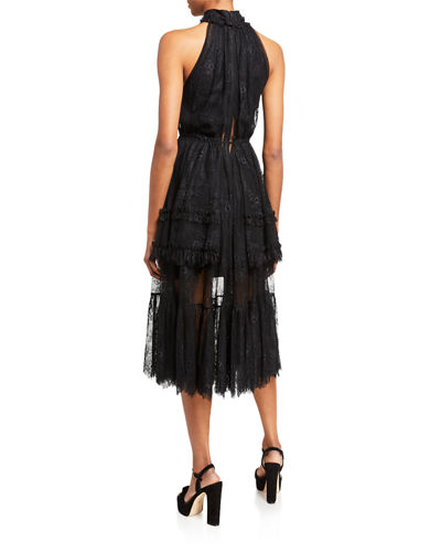 Alexis Magdalina Pleated Lace Halter Cocktail Dress
