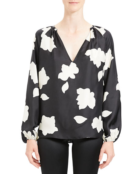 Image 2 of 4: Theory Petal Open V-Neck Gathered Long-Sleeve Silk Blouse