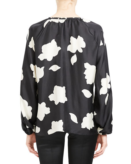 Image 3 of 4: Theory Petal Open V-Neck Gathered Long-Sleeve Silk Blouse