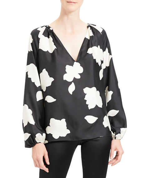 Image 1 of 4: Theory Petal Open V-Neck Gathered Long-Sleeve Silk Blouse
