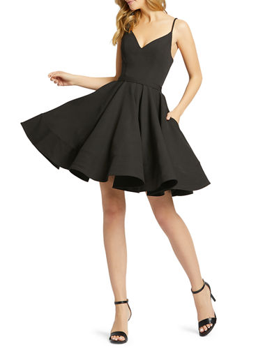 Sweetheart Sleeveless Fit-and-Flare Dress w/ Pockets
