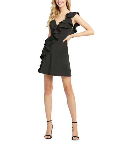 V-Neck Sleeveless Short Ruffle Dress