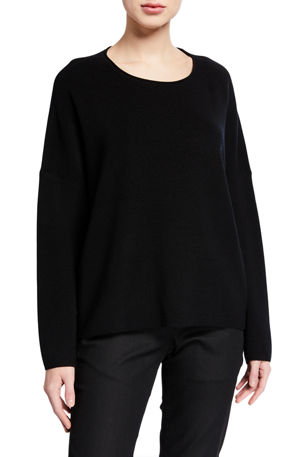 Eileen Fisher Boxy Fine Merino Wool Ribbed Sweater