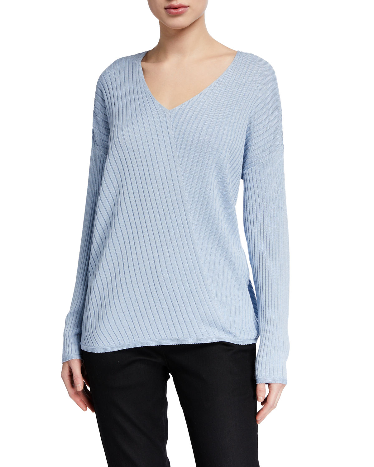Eileen Fisher Sweaters V-NECK LONG-SLEEVE VARIEGATED RIB SWEATER