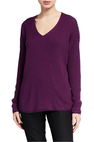 Eileen Fisher V-Neck Long-Sleeve Variegated Rib Sweater