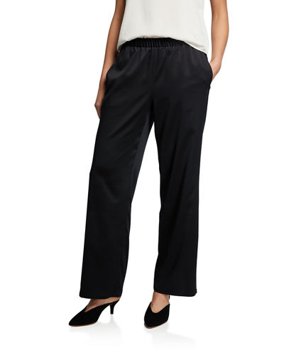 Polyester Satin Straight-Leg Pull-On Pants