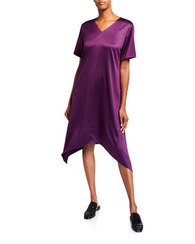 Satin V-Neck Short-Sleeve Asymmetric Hem Dress
