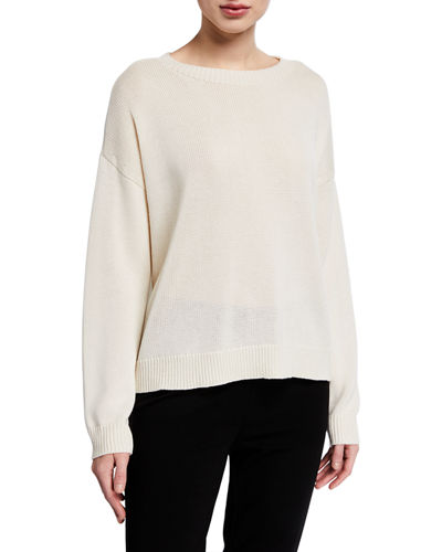 Round-Neck Lyocell/Organic Cotton/Silk Sweater