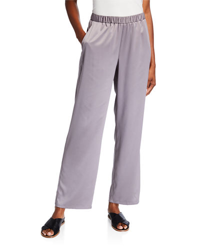 Petite Solid Satin Straight-Leg Pull-On Pants